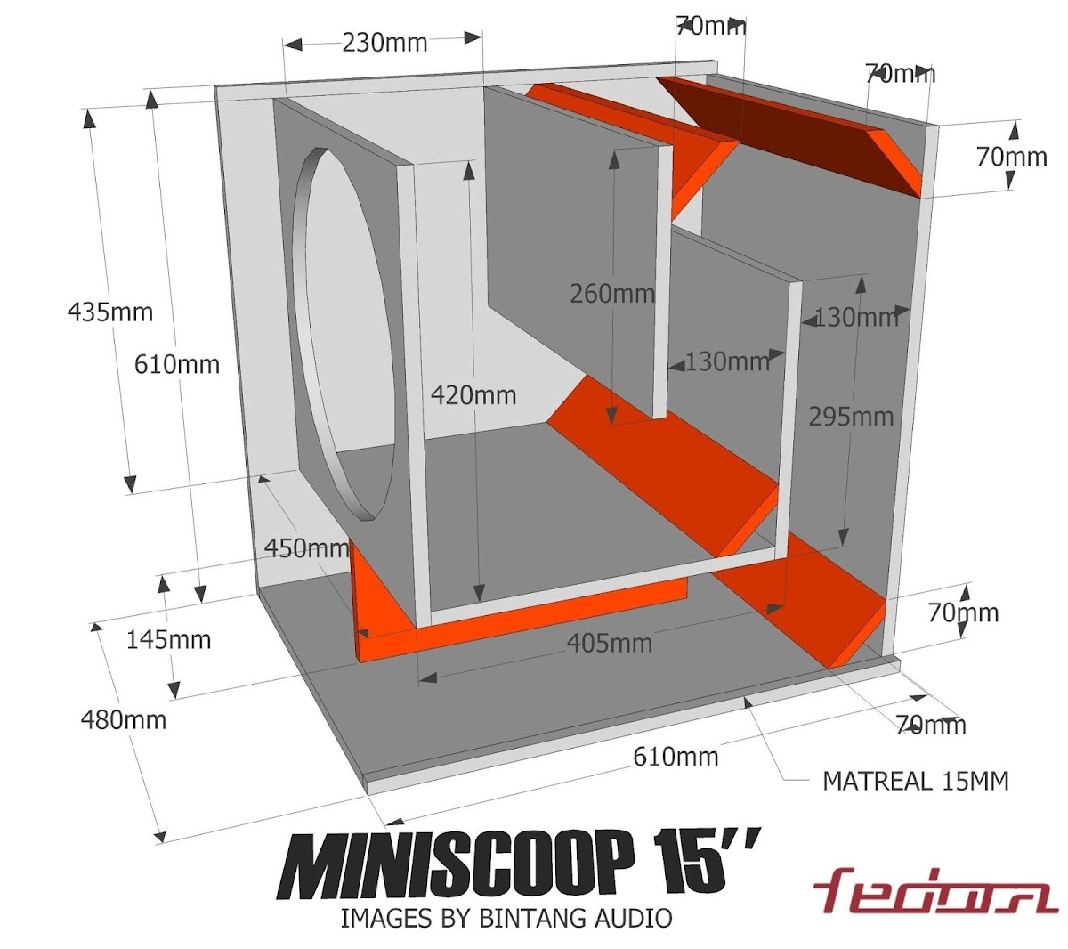 Speaker plans schematic dari Mniscoop 15 inch
