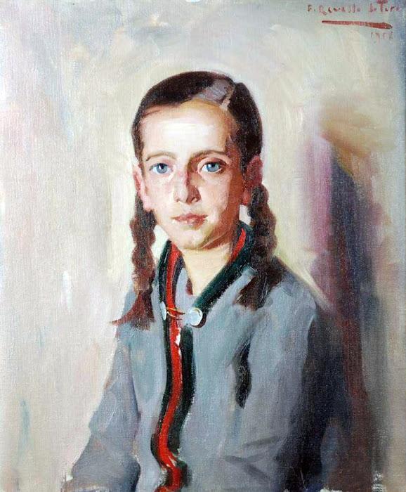 Retrato de chica, Félix Revello de Toro, Revello de Toro, Pintores Malagueños, Retratos de Revello de Toro, Pintor español, Pintores de Málaga, Pintor Revello de Toro