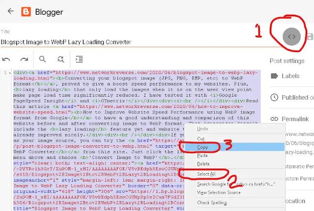 Blogspot Image to WebP Lazy Loading Converter