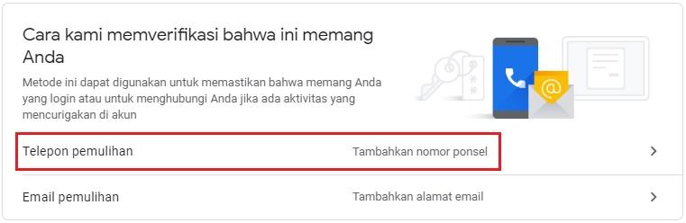 menu untuk mengatur nomor telepon pemulihan Google