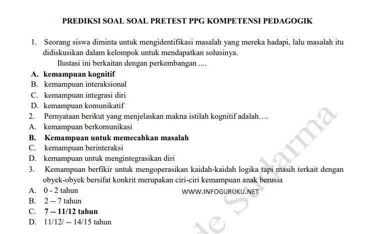 Paket Prediksi Soal Pretest 2018 Pdf Infoguruku