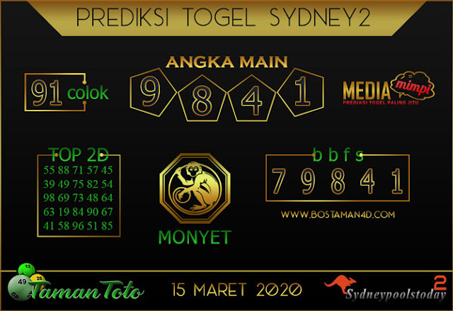 Prediksi Togel SYDNEY 2 TAMAN TOTO 15 MARET 2020