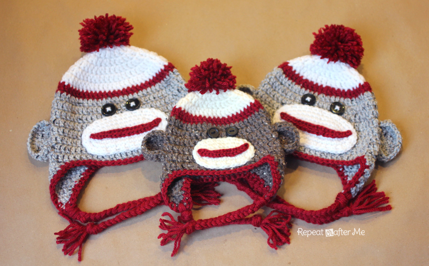 Free Crochet Pattern Sock Monkey Slippers : Crochet Sock Monkey Hat Pattern - Repeat Crafter Me
