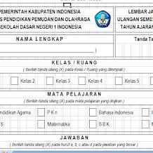 Lembar Jawaban Ulangan SD, SMP, SMA Excel