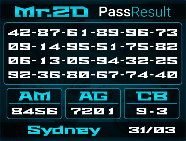 Prediksi Mr.2D | PassResult - Rabu, 31 Maret 2021 - Prediksi Togel Sydney