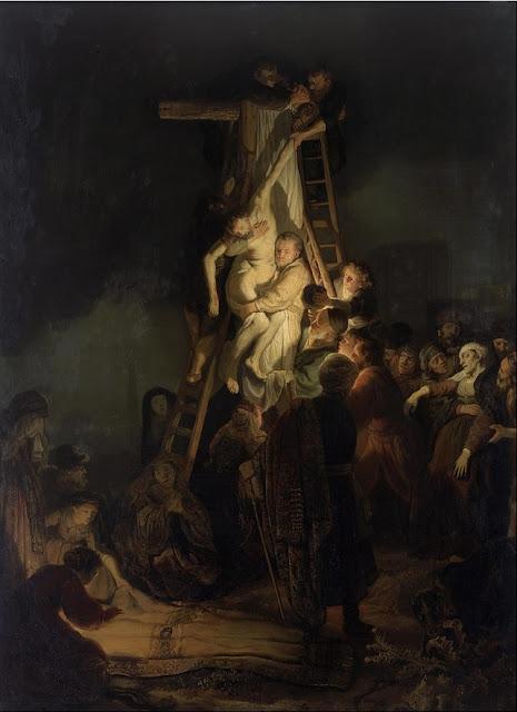 """A Descida da Cruz"""" (1634), pintura de Rembrandt  (1606–1669) exposta no Museu Hermitage em São Petersburgo, Rússia."""