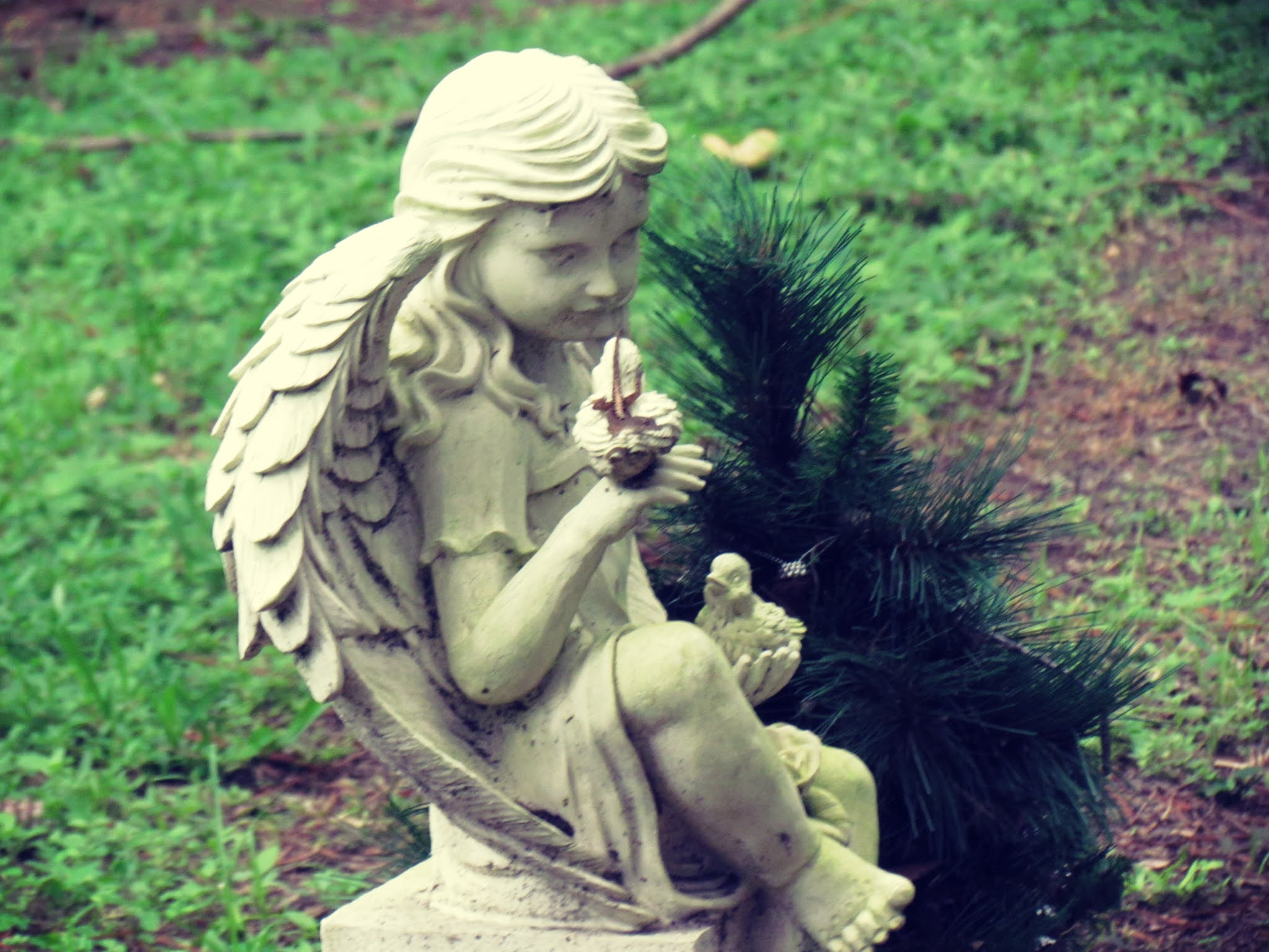 A cemetery with a cute angel statue figurine with a tiny Christmas tree pine and graveyard dirt spell uses and properties