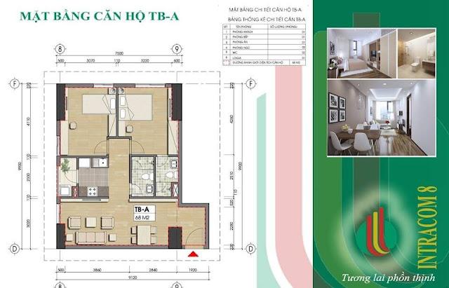 Thiết kế 1 căn hộ cơ bản tại dự án chung cư Intracom Vĩnh Ngọc.