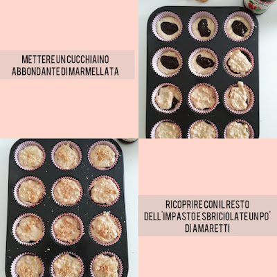 muffins alla marmellata di ciliegie con amaretti e mandorle