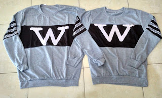 Jual Online Sweater Wonder Abu Couple Murah Jakarta Bahan Babytery Terbaru