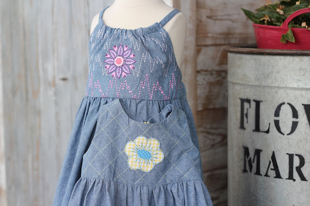 New Look 6293 and Simplicity 1701 dresses embellished with features from Pfaff Creative Icon