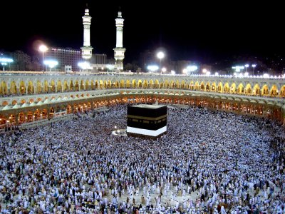 The sacred Kaaba in Mecca.