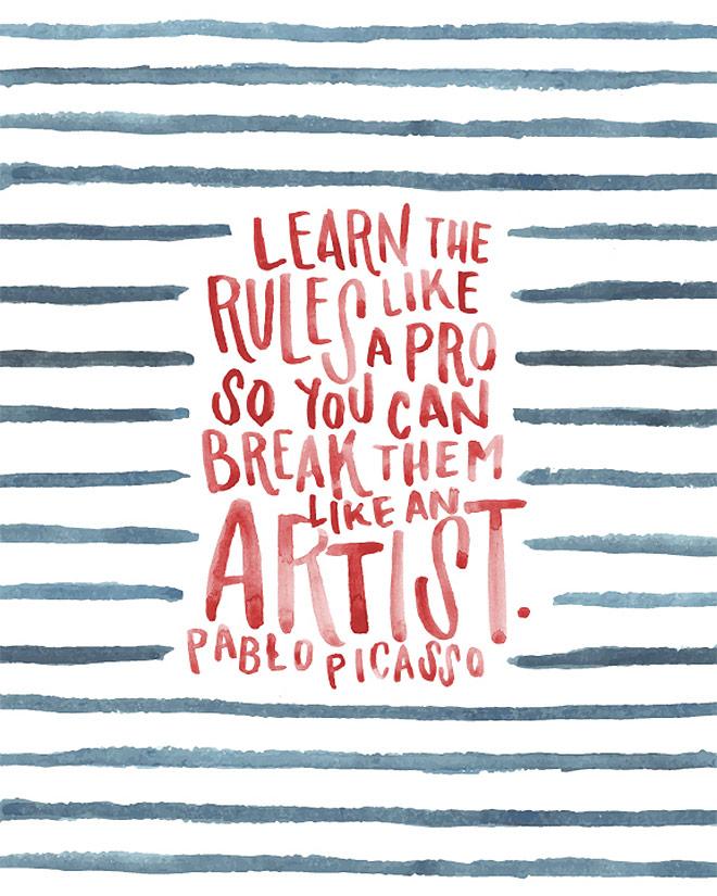 Inspirasi desain tipografi terbaik dan terbaru - Picasso Print by Jessica Richardson
