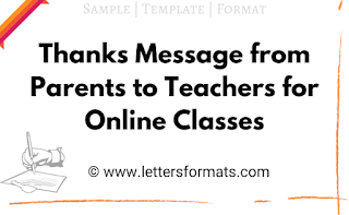 thanks message to teachers for online classes from parents