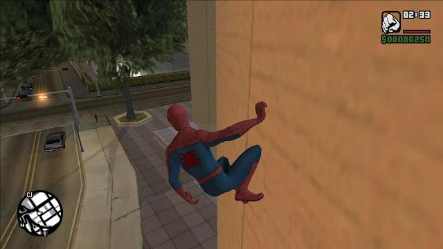 مود لعبة جتيا الخاص بالرجل العنكبوت gta san andreas spider man