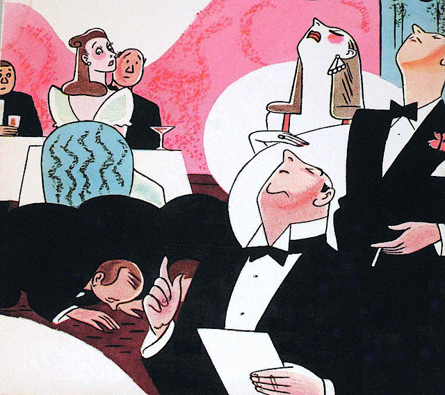 a Rea Irvin magazine illustration of a Maître D' in a fancy restaurant with snooty diners