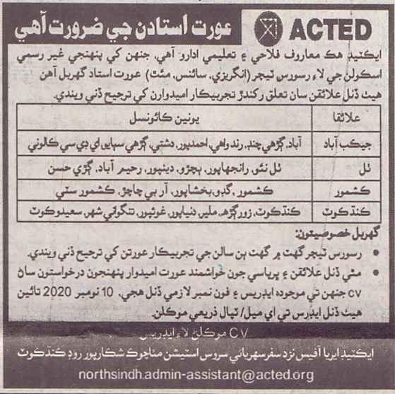 Teaching Jobs in ACTED NGO as Resource Teacher 2020
