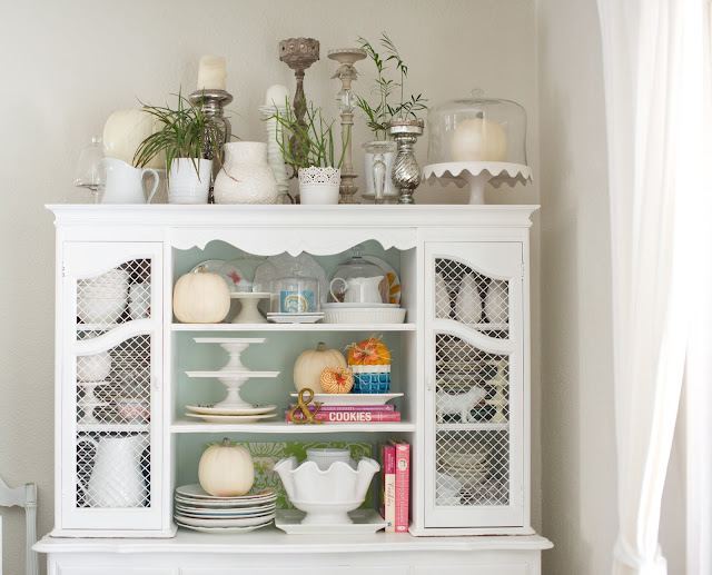 Simple and Lovely Fall Hutch Vignette