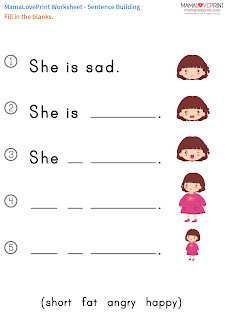 Mama Love Print 自製工作紙 - 英文代詞 Pronoun [he , she , it] [It is ... ] - 英文幼稚園工作紙  Kindergarten English Worksheet Free Download  幼稚園小朋友在家免費學習資源