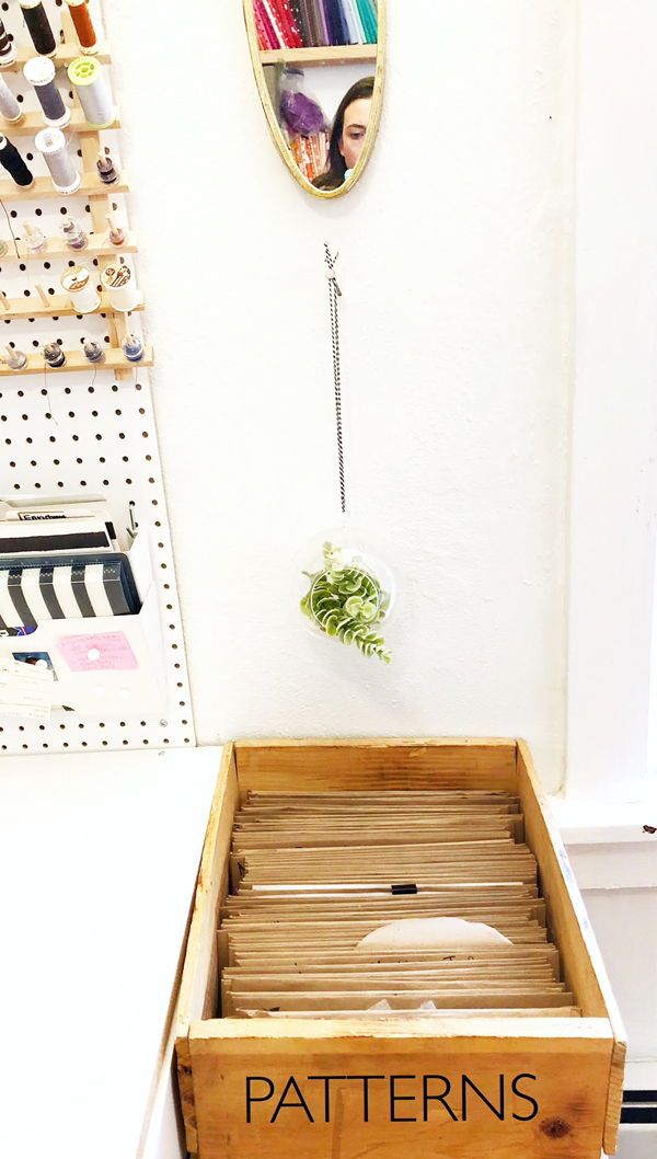 Organize and store sewing patterns in wood file box