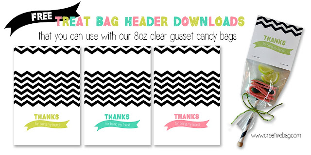 free treat bag header to use for a party favor by Lorrie Everitt for Creative Bag