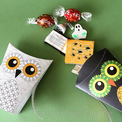 halloween owl treat box printable PDF