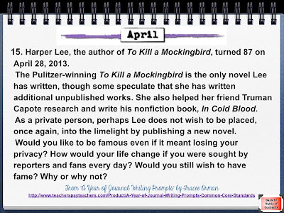 Harper Lee's Birthday (April 28th) Writing Prompt www.traceeorman.com