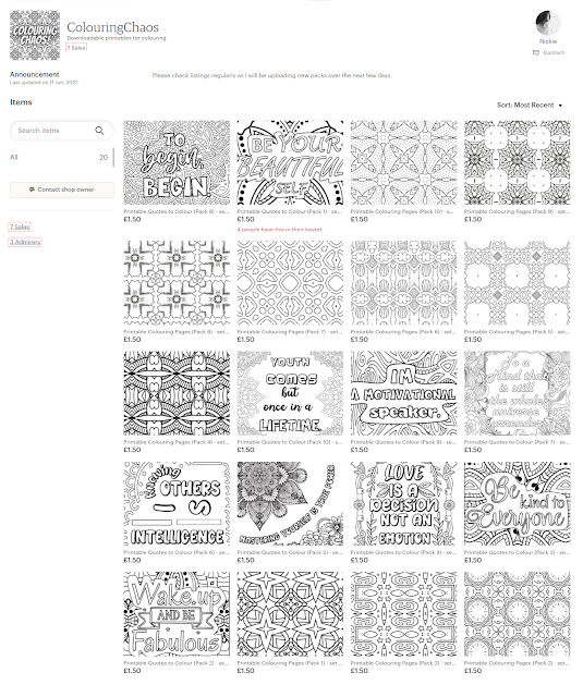 Colouring Chaos on Etsy - showing the home page - downloadable colouring pages