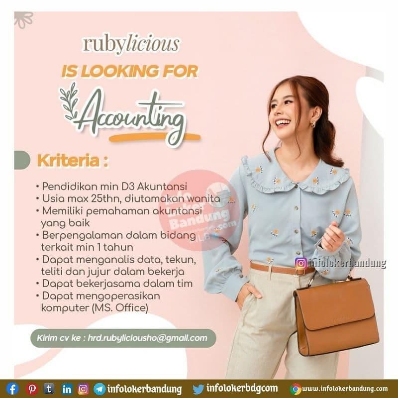 Lowongan Kerja Accounting Rubylicious Bandung Juni 2021