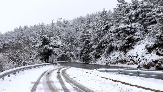 """Η """"Μήδεια"""" στην Πελοπόννησο: Προβλήματα λόγω χιονοπτώσεων στο οδικό δίκτυο σε Αχαΐα και Κορινθία"""