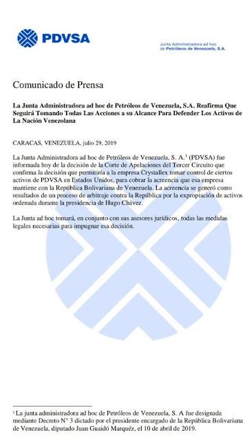 Junta Directiva de Pdvsa Ad Hoc impugnará la decisión del caso de minera canadiense Crystallex