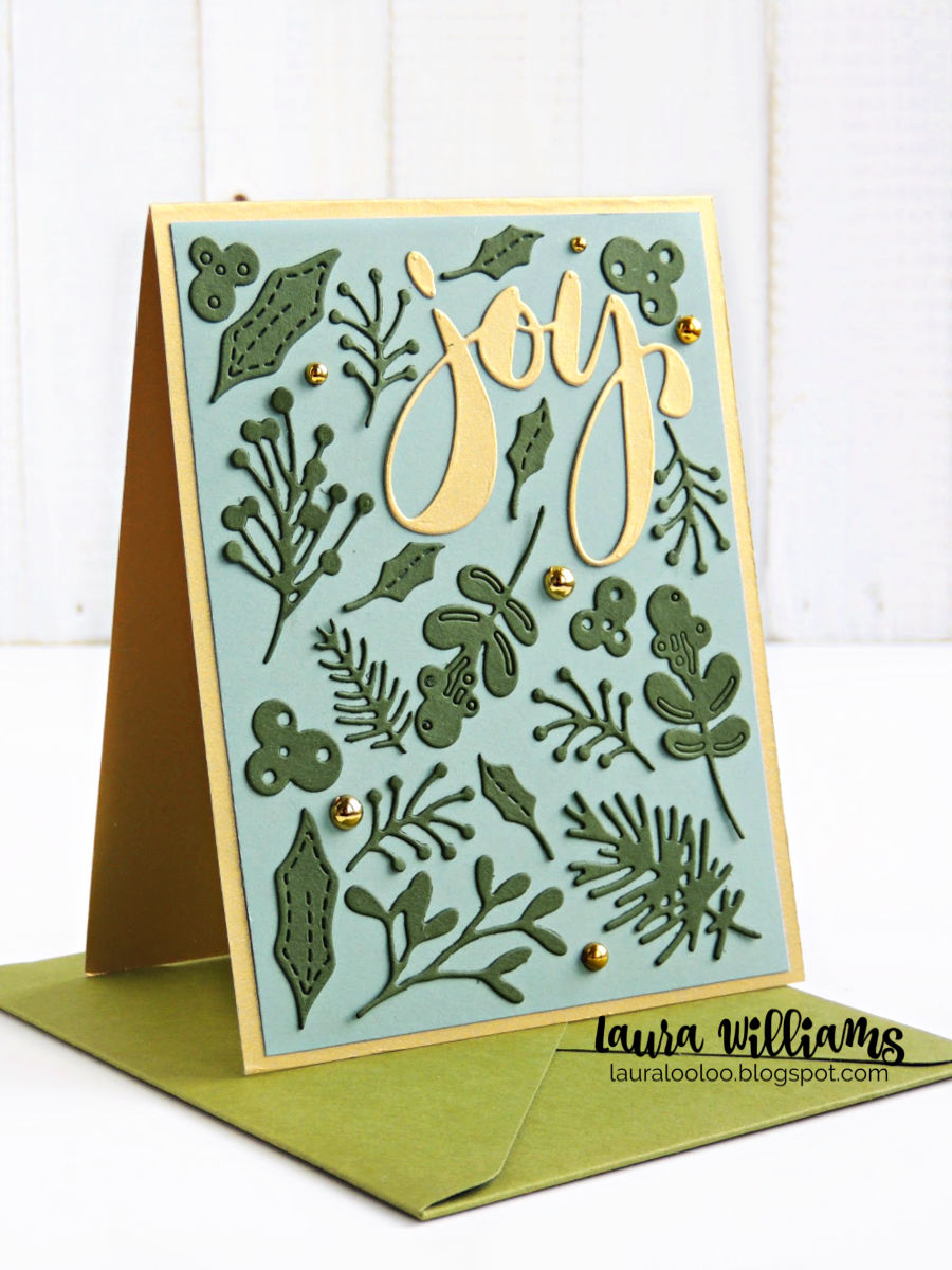 Make handmade Christmas cards with the Winter Foliage dies from Impression Obsession. These elegant ideas with this great leafy die set are fun and simple to make for the holidays. #iostamps #diecutting #christmascards