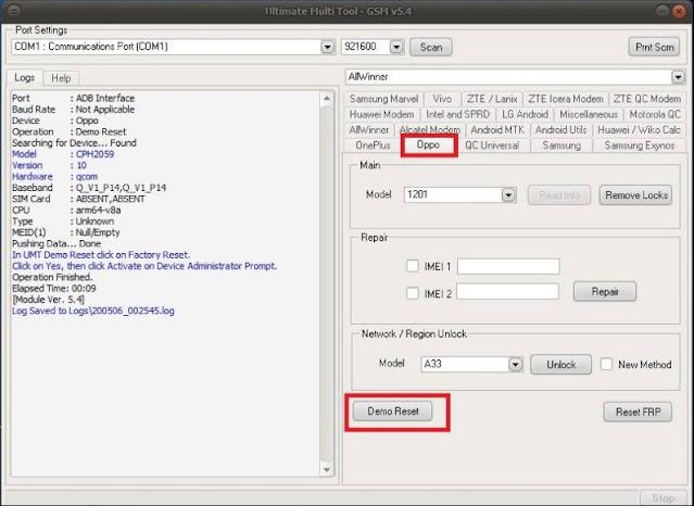 Cara Hapus Demo Oppo A92 CPH2059 Tanpa Dongle via Teamviewer