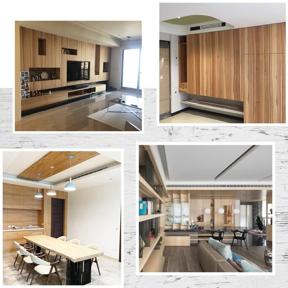 滿足設計、裝潢的各種需求,天花板、櫥櫃、桌椅面材裝飾,滿足每個人對家的渴望與想像。