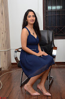 Radhika Mehrotra in a Deep neck Sleeveless Blue Dress at Mirchi Music Awards South 2017 ~  Exclusive Celebrities Galleries 149.jpg