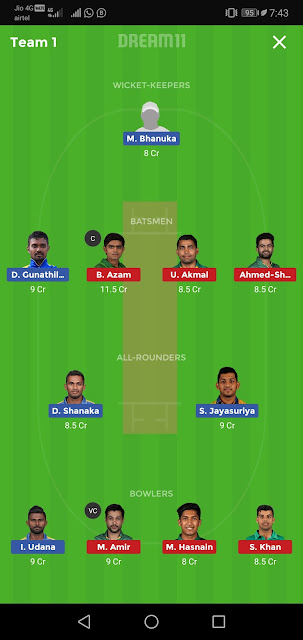 T20 Prediction,Pak vs Sl T20 match Prediction,dream11 prediction