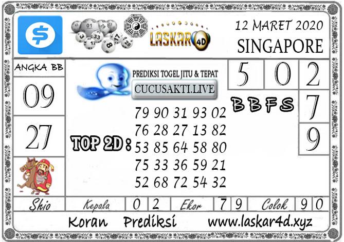 Prediksi Togel SINGAPORE LASKAR4D 12 MARET 2020