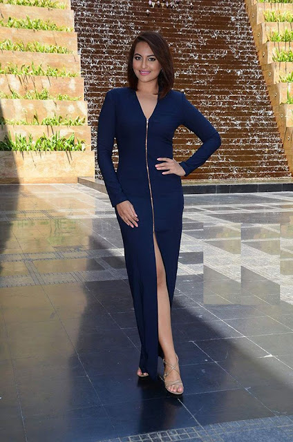 Sonakshi Sinha Blue Zipper Dress