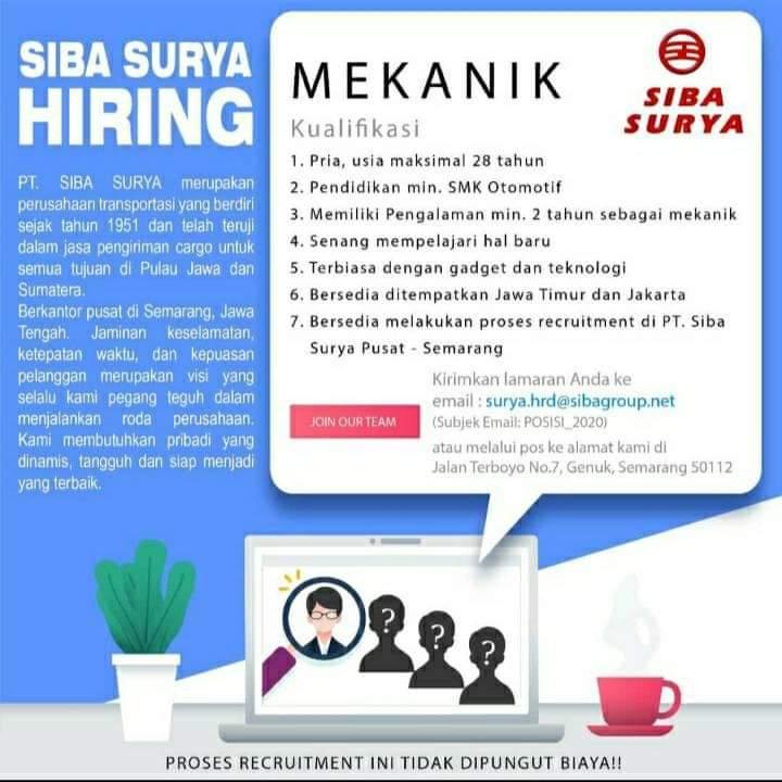 Loker Mekanik PT Siba Surya Semarang