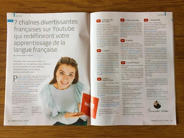 """""""Français Présent 57/2021"""" + aplikacja - artykuł o kanałach na YouTubie - Francuski przy kawie"""
