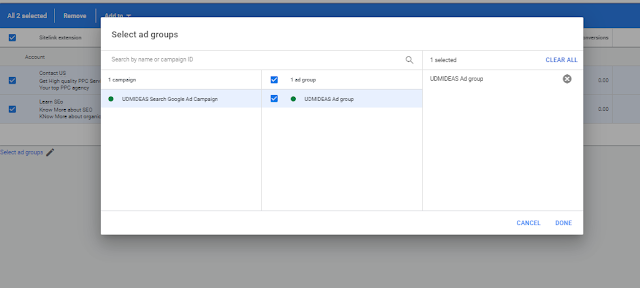add site extensions to udmideas Google ad group
