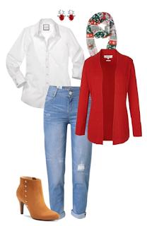 Look natal: jeans, camisa branca, botins camel de salto, cardigan vermelho e lença com padrão natalício