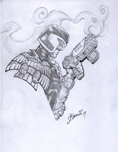Judge Dredd 2000AD Drawing