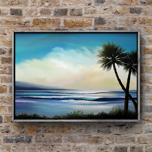 paradise, island, tropical, sunny, palm tree, art by Mark Taylor