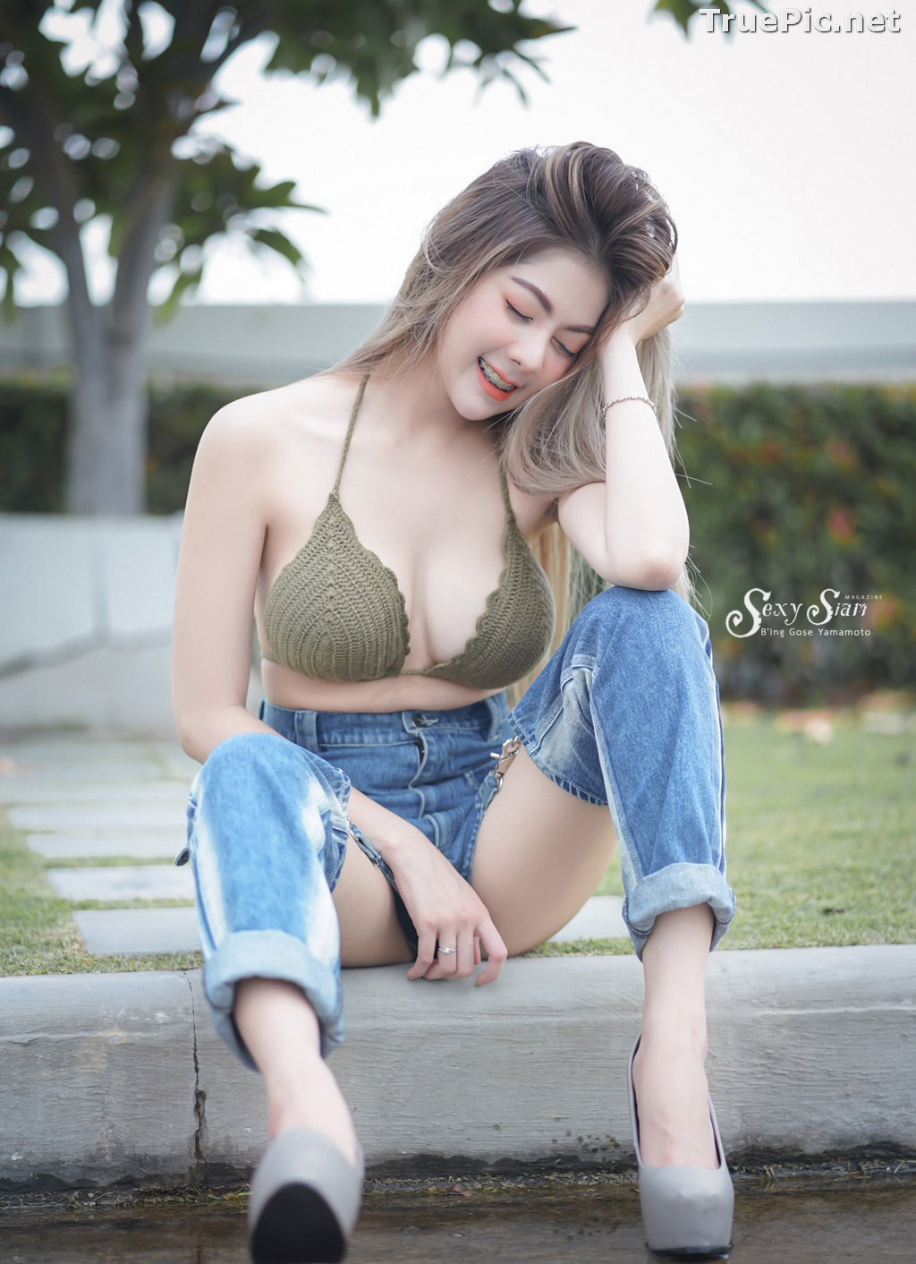 Image Thailand Model - Paeploy Panpeng - Green Tea Bra and Jean - TruePic.net - Picture-1