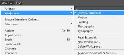 Cara reset workspace photoshop sehingga tool box dapat muncul kembali