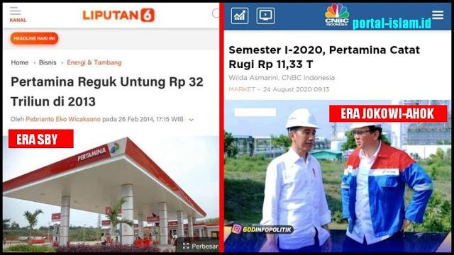Tak Bisa Dibantah, Pertamina Era SBY Untung Rp 32 Triliun, Era Jokowi-Ahok Tekor Rp 11 Triliun