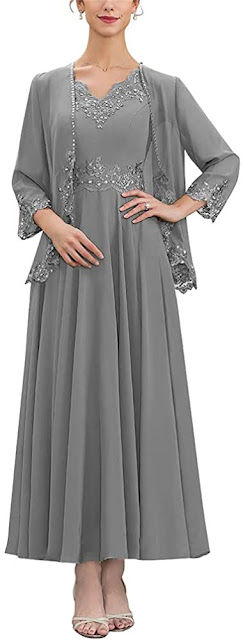 Grey Mother of The Groom Dress with Jacket