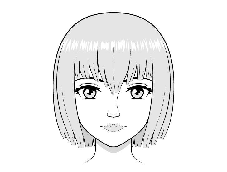 Wajah anime realistis menggambar gambar berbayang