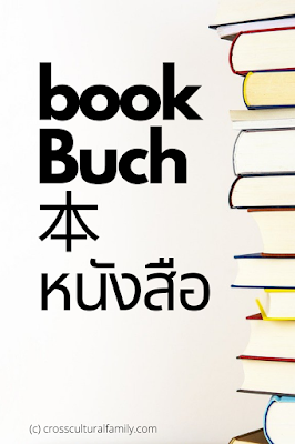 """Stacked books with the English, German, Japanese and Thai words meaning """"book"""""""